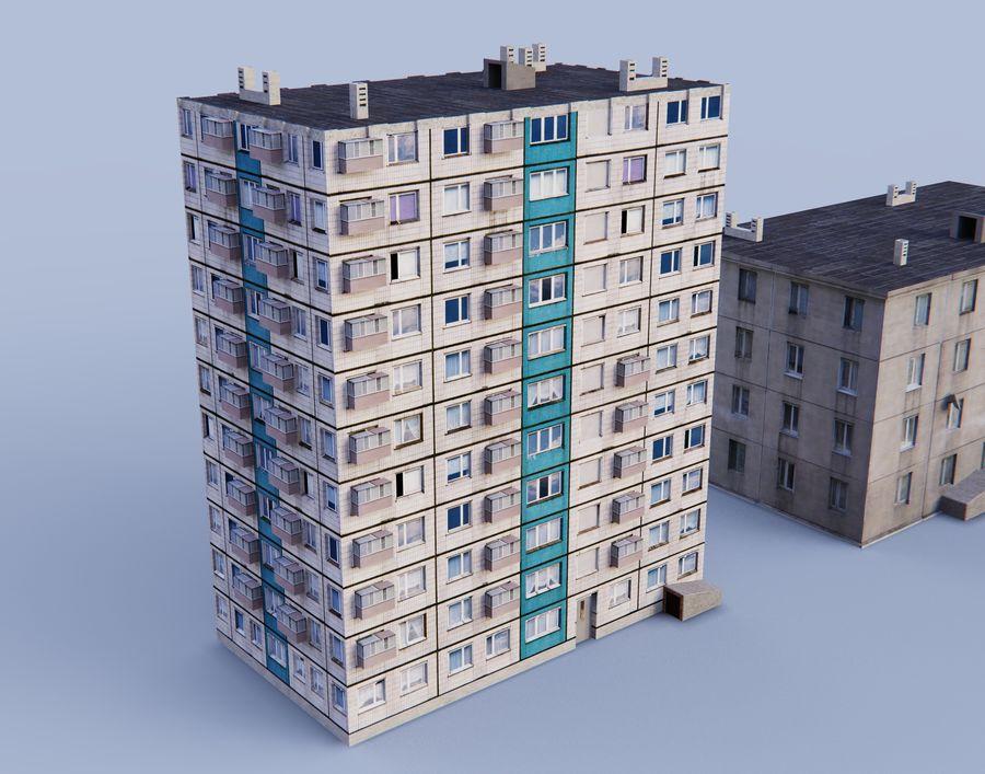 düşük poli Rus evleri royalty-free 3d model - Preview no. 4