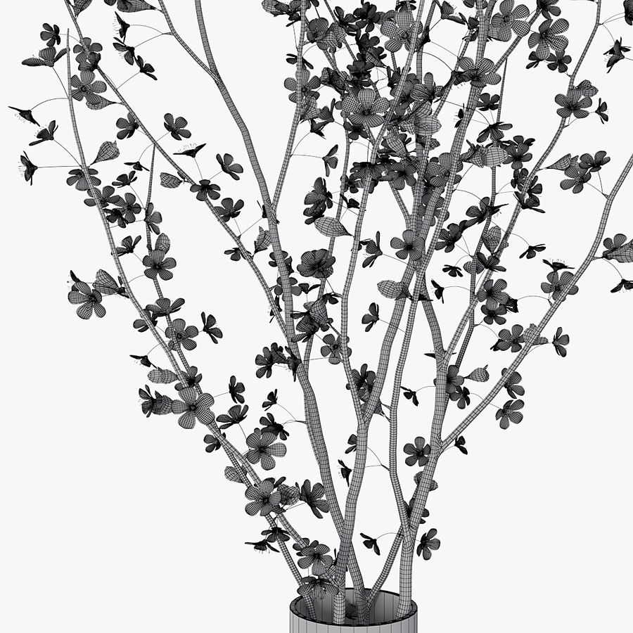 Cherry blossom 02 royalty-free 3d model - Preview no. 12