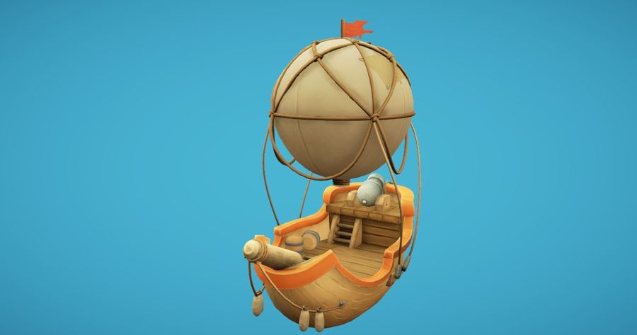 Balloon Boat royalty-free 3d model - Preview no. 2