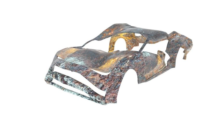 Muscle Car Wreck royalty-free 3d model - Preview no. 1