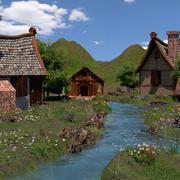 Casa medieval del río modelo 3d