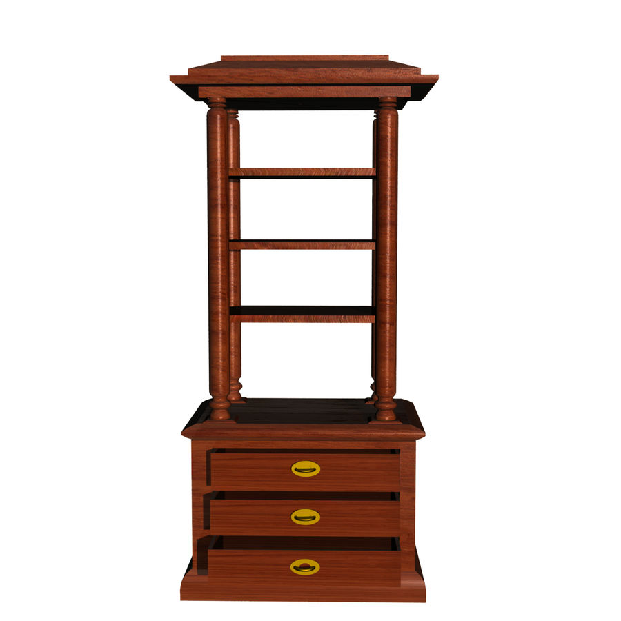 Meuble etagere en teck royalty-free 3d model - Preview no. 1