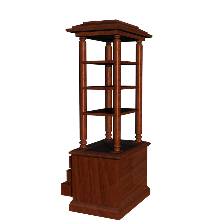 Meuble etagere en teck royalty-free 3d model - Preview no. 3