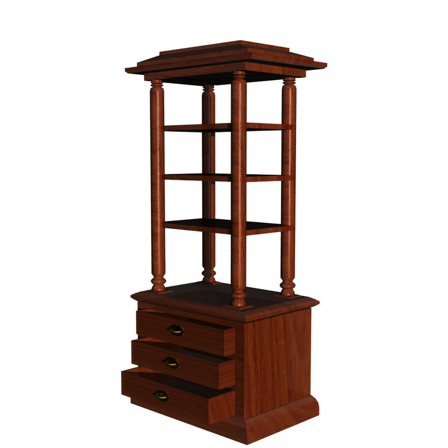 Meuble etagere en teck royalty-free 3d model - Preview no. 2