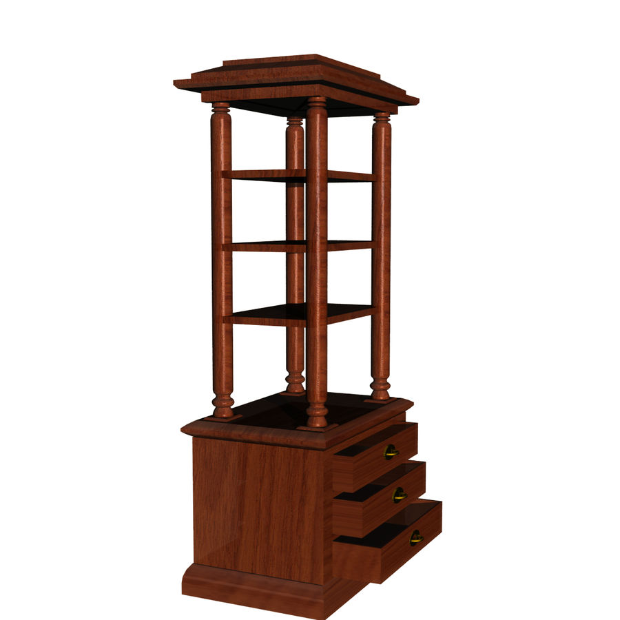 Meuble etagere en teck royalty-free 3d model - Preview no. 5
