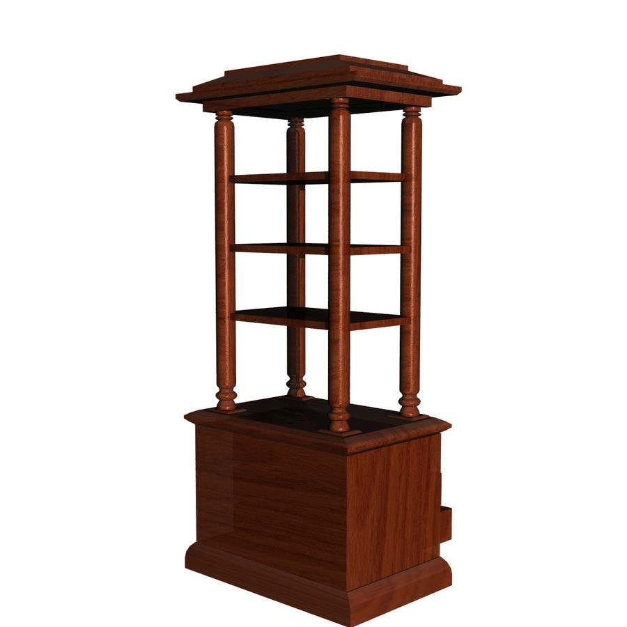 Meuble etagere en teck royalty-free 3d model - Preview no. 4