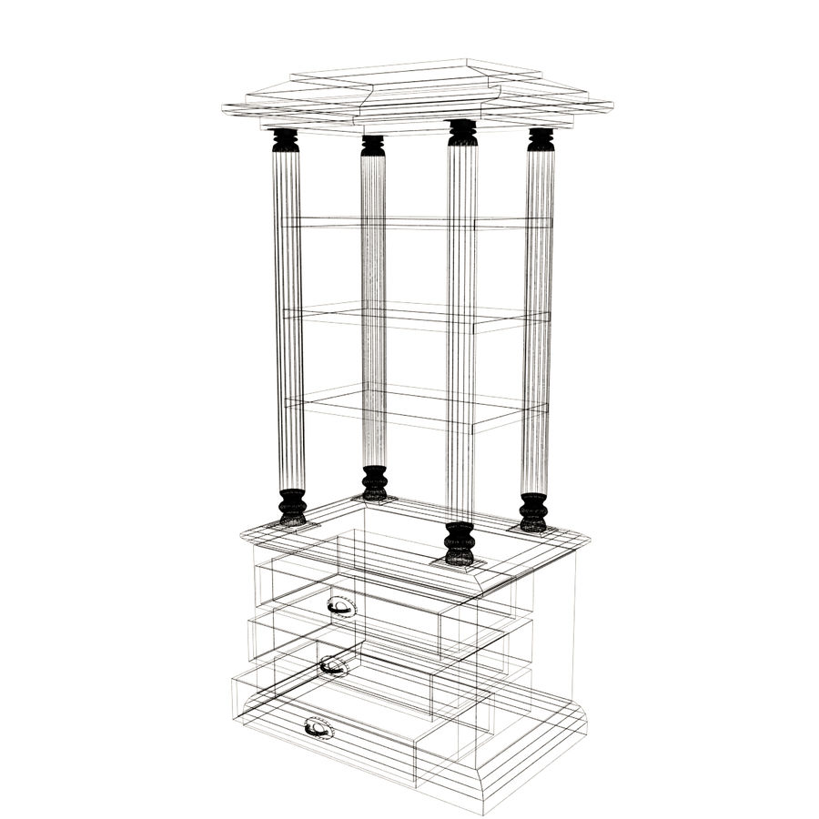 Meuble etagere en teck royalty-free 3d model - Preview no. 7