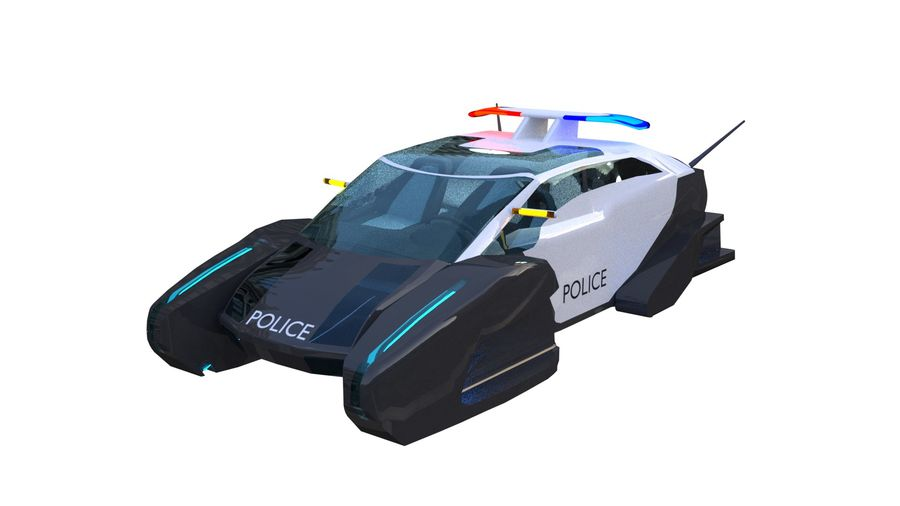samochód policyjny royalty-free 3d model - Preview no. 9
