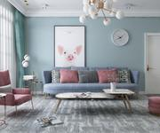 G0-Salon-moderne avec mobilier complet 3d model