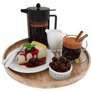 Cheesecake de café e cereja 3d model