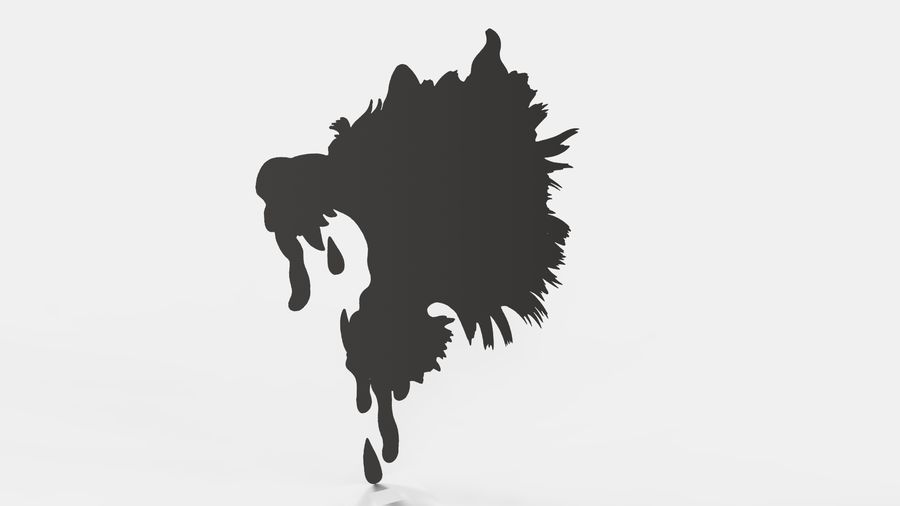 Çılgın köpek kafası bas Rölyef royalty-free 3d model - Preview no. 6