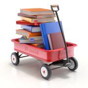 Child Wagon Toy with Books 3d model