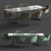 Globewest Abigail Armchair and Barnes Trestle Table 3d model