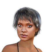Rihanna modello 3d completamente truccato 3d model