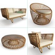 Nest Rattan Furniture Set 3d model