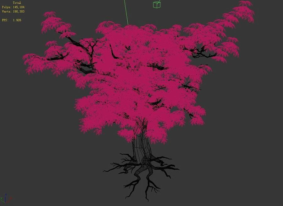 Острые листья - Дерево 32 royalty-free 3d model - Preview no. 5