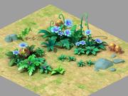 식물-푸른 꽃-잔디 02 3d model