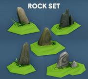 Низкополигональные скалы для разработки игр 3d model