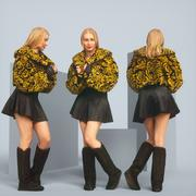 Model in Leather Skirt and Fur Top Dancing 3d model