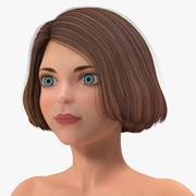 Cartoon naakt vrouwen T-pose 3d model