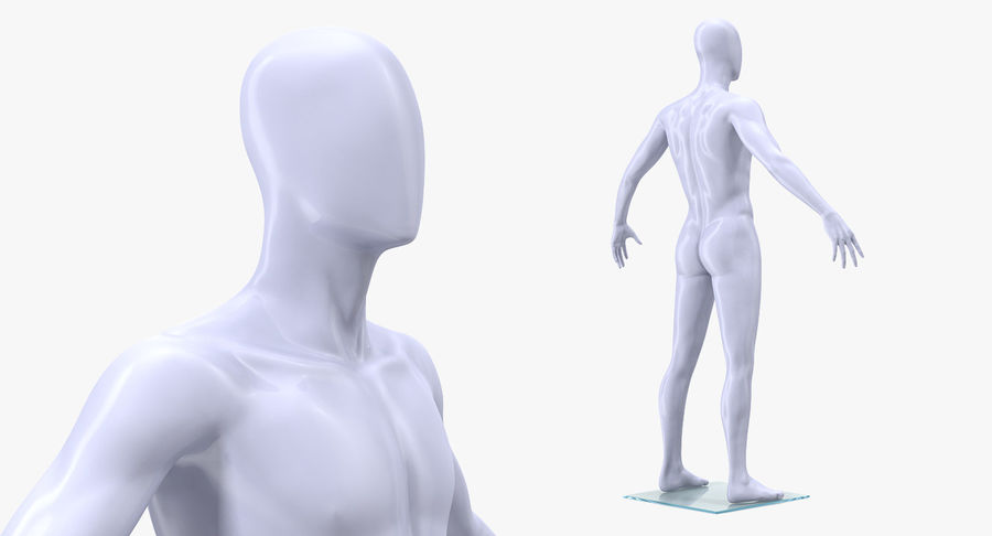 Nike Sportswear Suit Blue Lowered Hood on Mannequin royalty-free 3d model - Preview no. 5