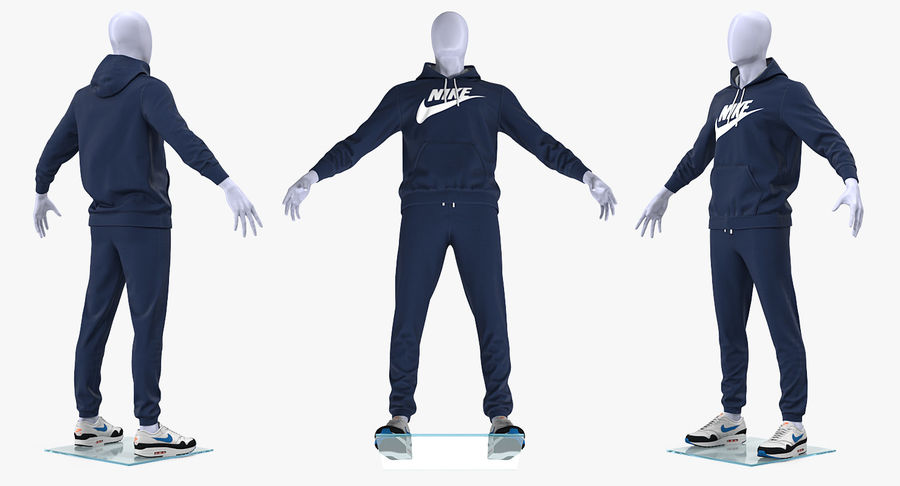 Nike Sportswear Suit Blue Lowered Hood on Mannequin royalty-free 3d model - Preview no. 7