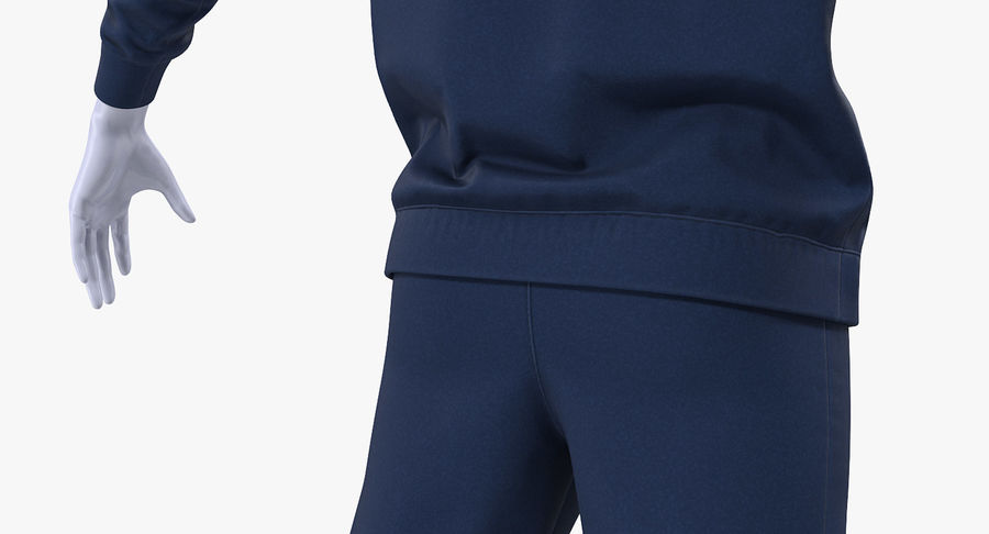 Nike Sportswear Suit Blue Lowered Hood on Mannequin royalty-free 3d model - Preview no. 12