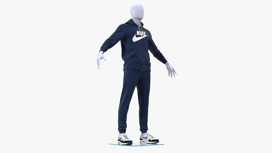 Nike Sportswear Suit Blue Lowered Hood on Mannequin royalty-free 3d model - Preview no. 2