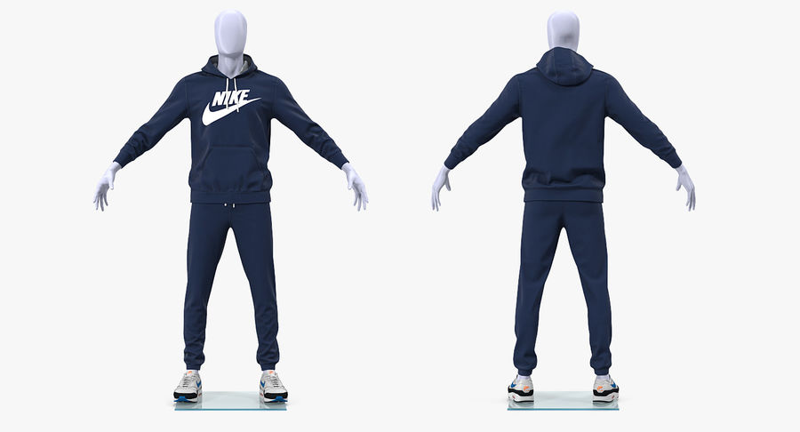 Nike Sportswear Suit Blue Lowered Hood on Mannequin royalty-free 3d model - Preview no. 4
