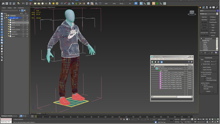 Nike Sportswear Suit Blue Lowered Hood on Mannequin royalty-free 3d model - Preview no. 22