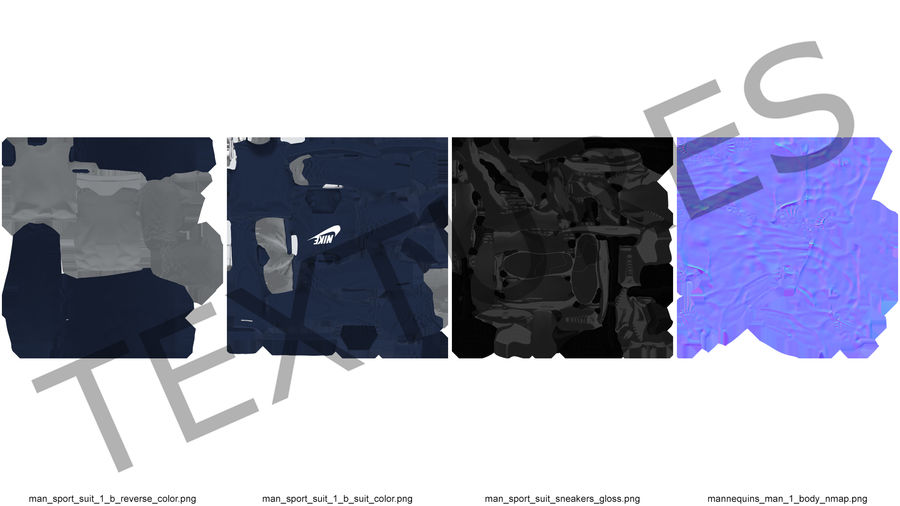 Nike Sportswear Suit Blue Lowered Hood on Mannequin royalty-free 3d model - Preview no. 19