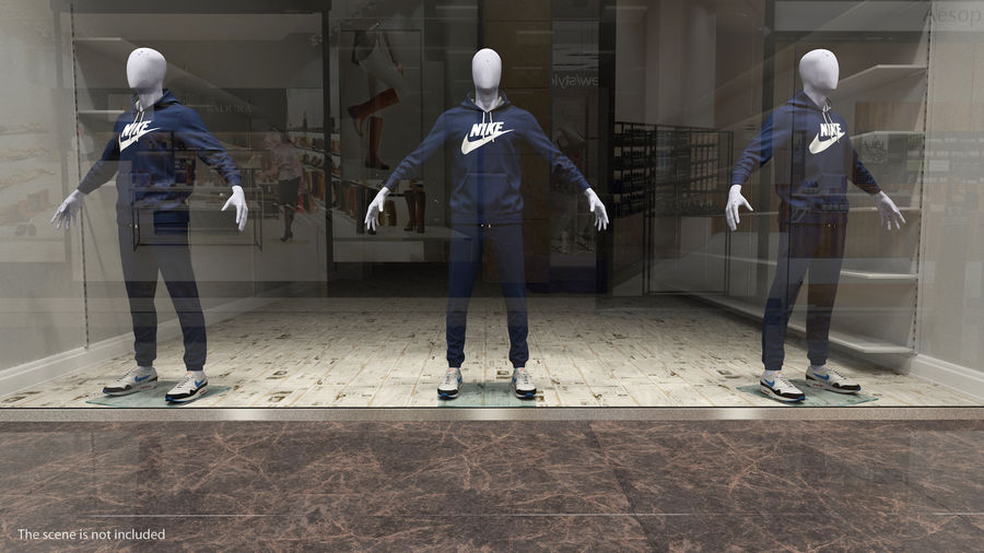 Nike Sportswear Suit Blue Lowered Hood on Mannequin royalty-free 3d model - Preview no. 3