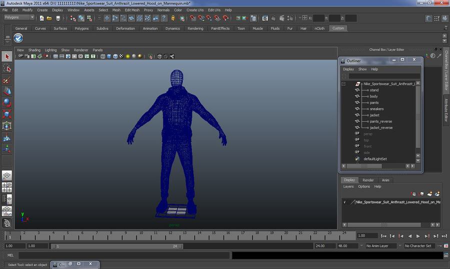 Nike Sportswear Suit Blue Lowered Hood on Mannequin royalty-free 3d model - Preview no. 20