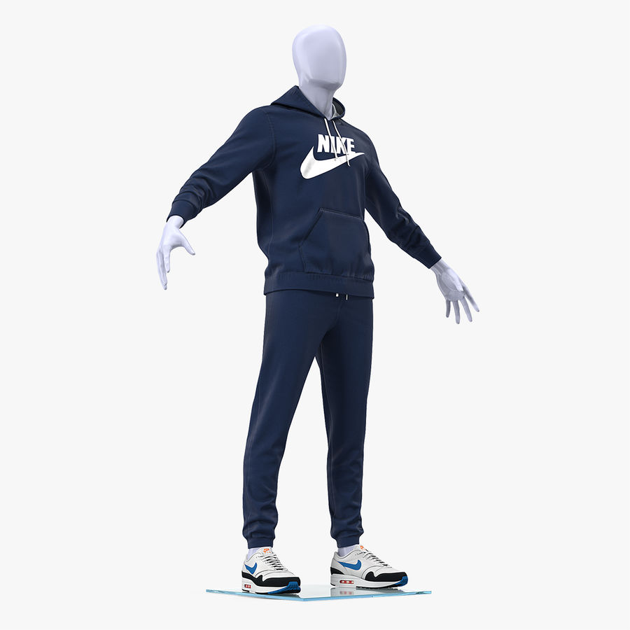 Nike Sportswear Suit Blue Lowered Hood on Mannequin royalty-free 3d model - Preview no. 1