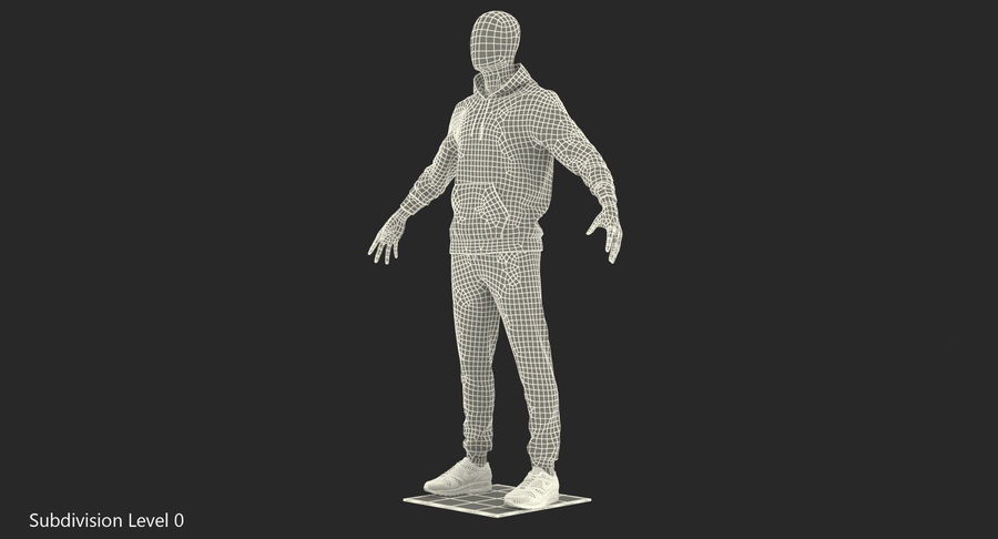 Nike Sportswear Suit Blue Lowered Hood on Mannequin royalty-free 3d model - Preview no. 16