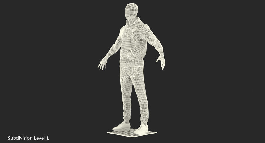 Nike Sportswear Suit Blue Lowered Hood on Mannequin royalty-free 3d model - Preview no. 17