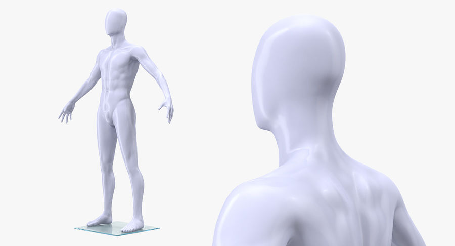 Nike Sportswear Suit Blue Lowered Hood on Mannequin royalty-free 3d model - Preview no. 6