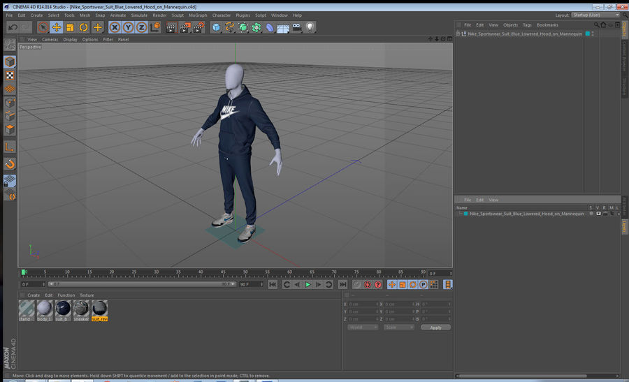 Nike Sportswear Suit Blue Lowered Hood on Mannequin royalty-free 3d model - Preview no. 21