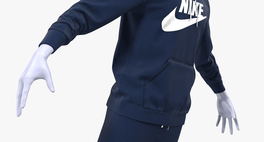 Nike Sportswear Suit Blue Lowered Hood on Mannequin royalty-free 3d model - Preview no. 9