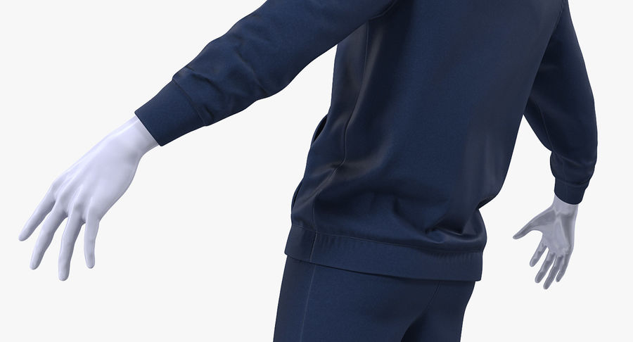 Nike Sportswear Suit Blue Lowered Hood on Mannequin royalty-free 3d model - Preview no. 10