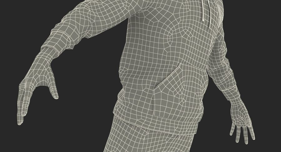 Nike Sportswear Suit Blue Lowered Hood on Mannequin royalty-free 3d model - Preview no. 24