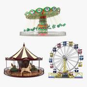 유원지 놀이기구 컬렉션 3d model