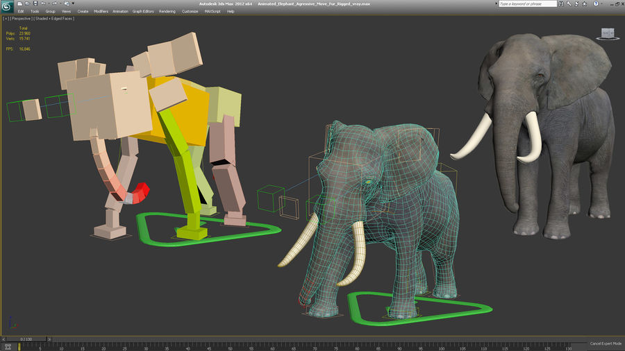 Animerad Elephant Agressive Move Fur Rigged royalty-free 3d model - Preview no. 13