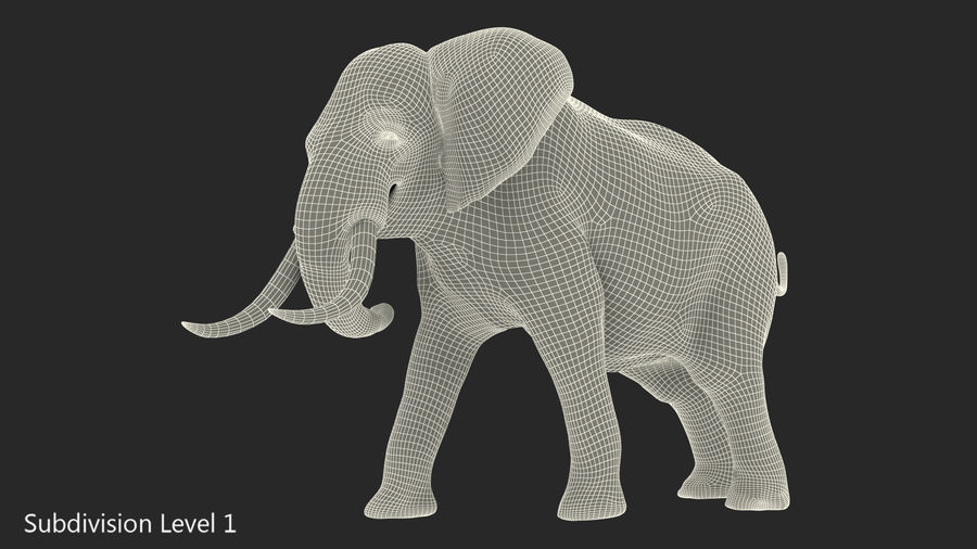Animerad Elephant Agressive Move Fur Rigged royalty-free 3d model - Preview no. 12
