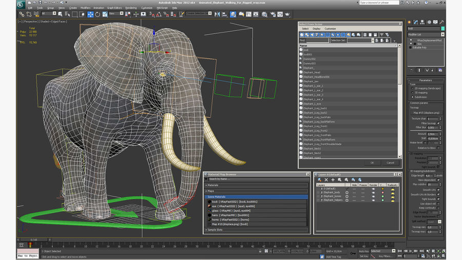 Animated Elephant Walking Fur Rigged royalty-free 3d model - Preview no. 20