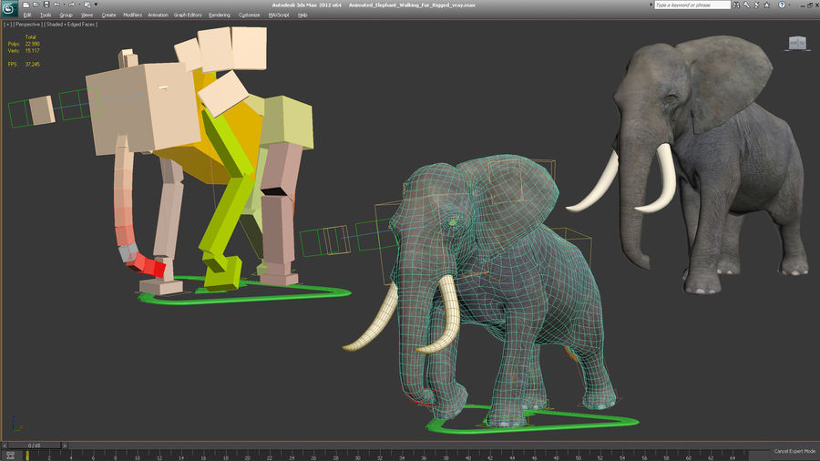 Animated Elephant Walking Fur Rigged royalty-free 3d model - Preview no. 17