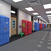 Scuola corridoio Maya 3d model