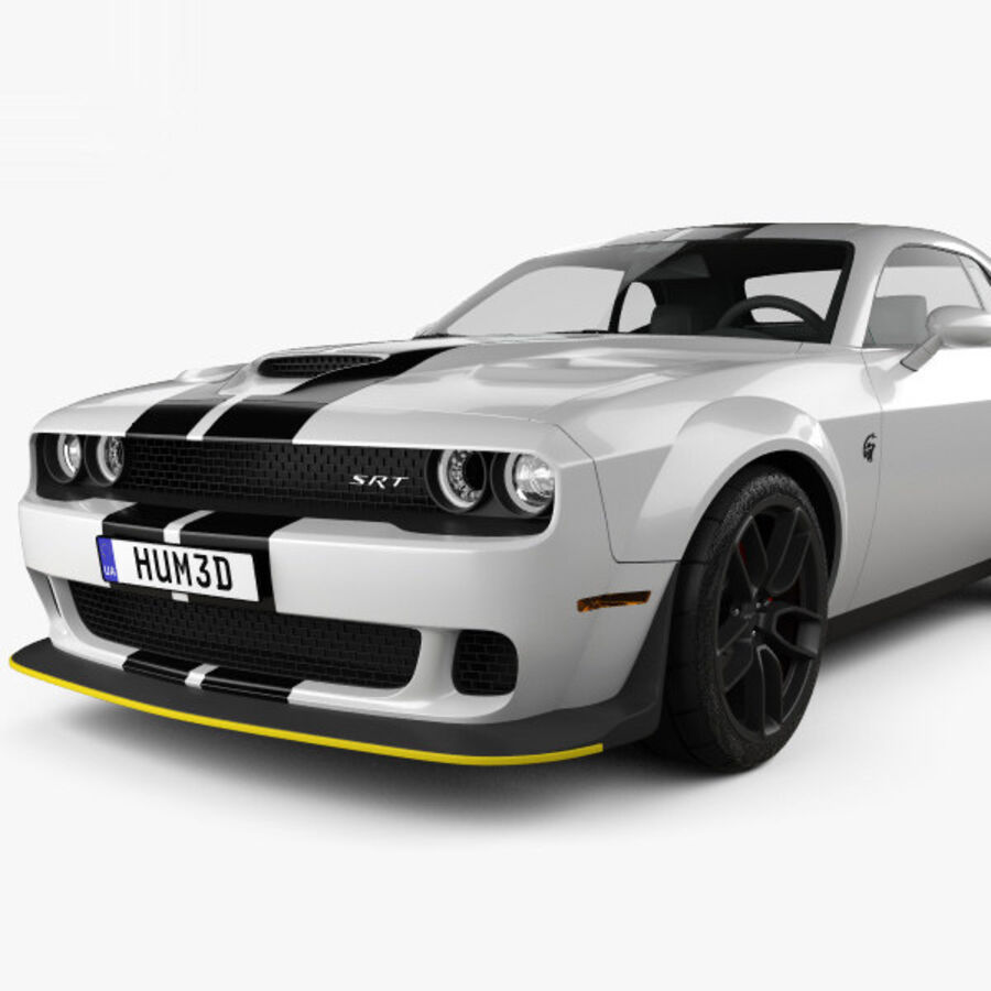Dodge Challenger SRT Hellcat Wide Body 2018 royalty-free 3d model - Preview no. 6
