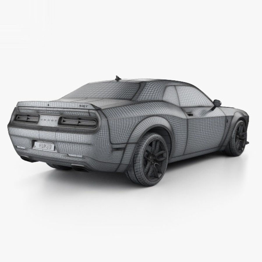 Dodge Challenger SRT Hellcat Wide Body 2018 royalty-free 3d model - Preview no. 4
