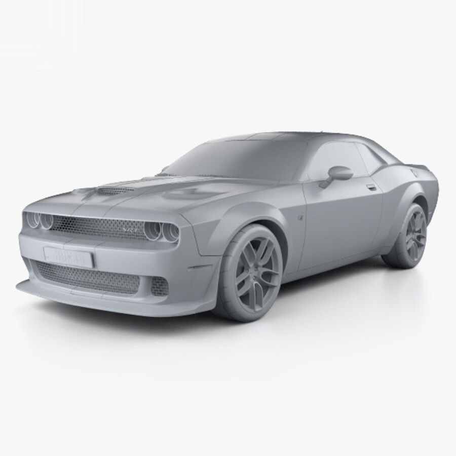 Dodge Challenger SRT Hellcat Wide Body 2018 royalty-free 3d model - Preview no. 11